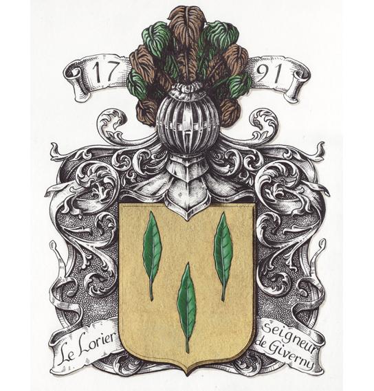 armoiries LE LORIER seigneur de Giverny 1791